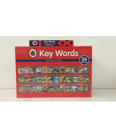 Ladybird Key Words with Peter and Jane 36 Hardback Books Complete Collection with Flash Card Pack